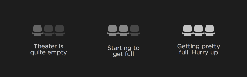 تعداد صندلیهای خالی برای تجربه کاربری بهتر بلیط سینما